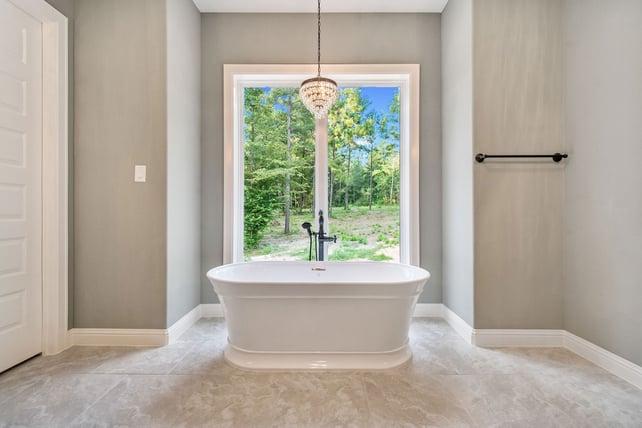 Mulled window in bathroom