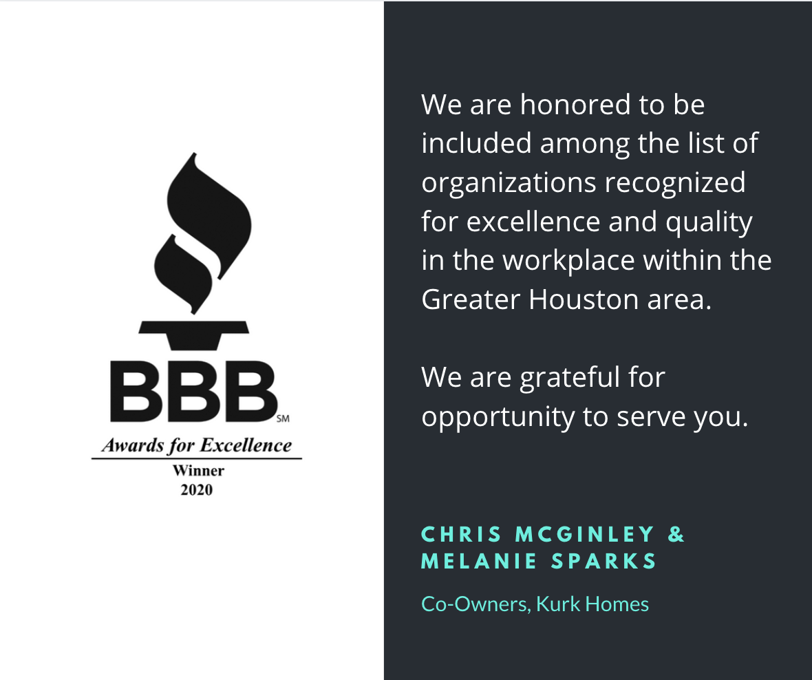 BBB Recognizes Kurk Homes as a 2020 Awards for Excellence Winner