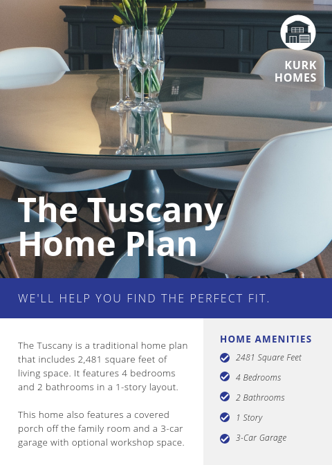 The Tuscany Plan | Kurk Homes Design