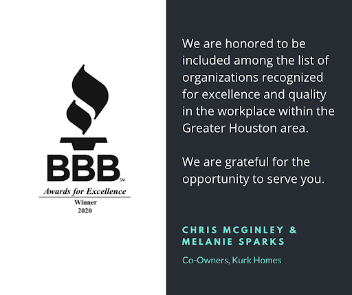 Kurk Homes Honored with a 2020 Houston BBB Award for Excellence